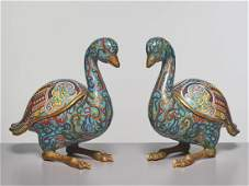 A PAIR OF CLOISONNE 'DUCK' CENSERS; QING DYNASTY