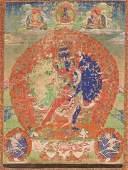 A THANGKA DEPICTING CHAKRASAMVARA AND VAJRAVARAHI