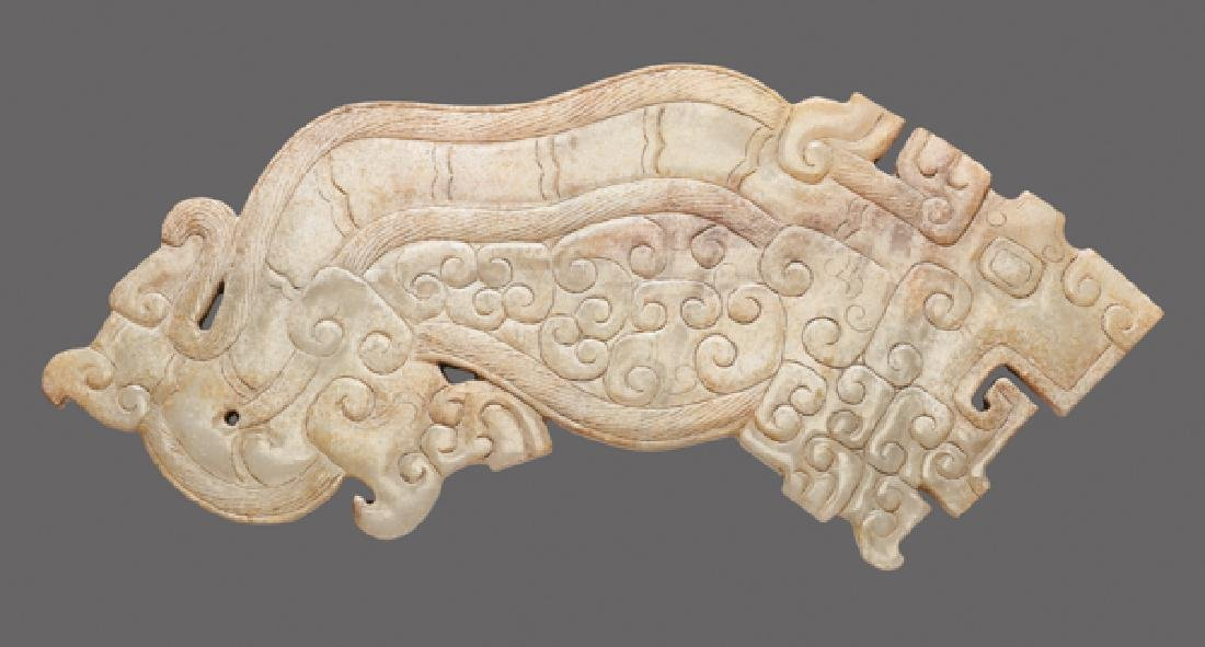 EXQUISITELY CARVED TIGER IN SEMI-TRANSLUCENT JADE