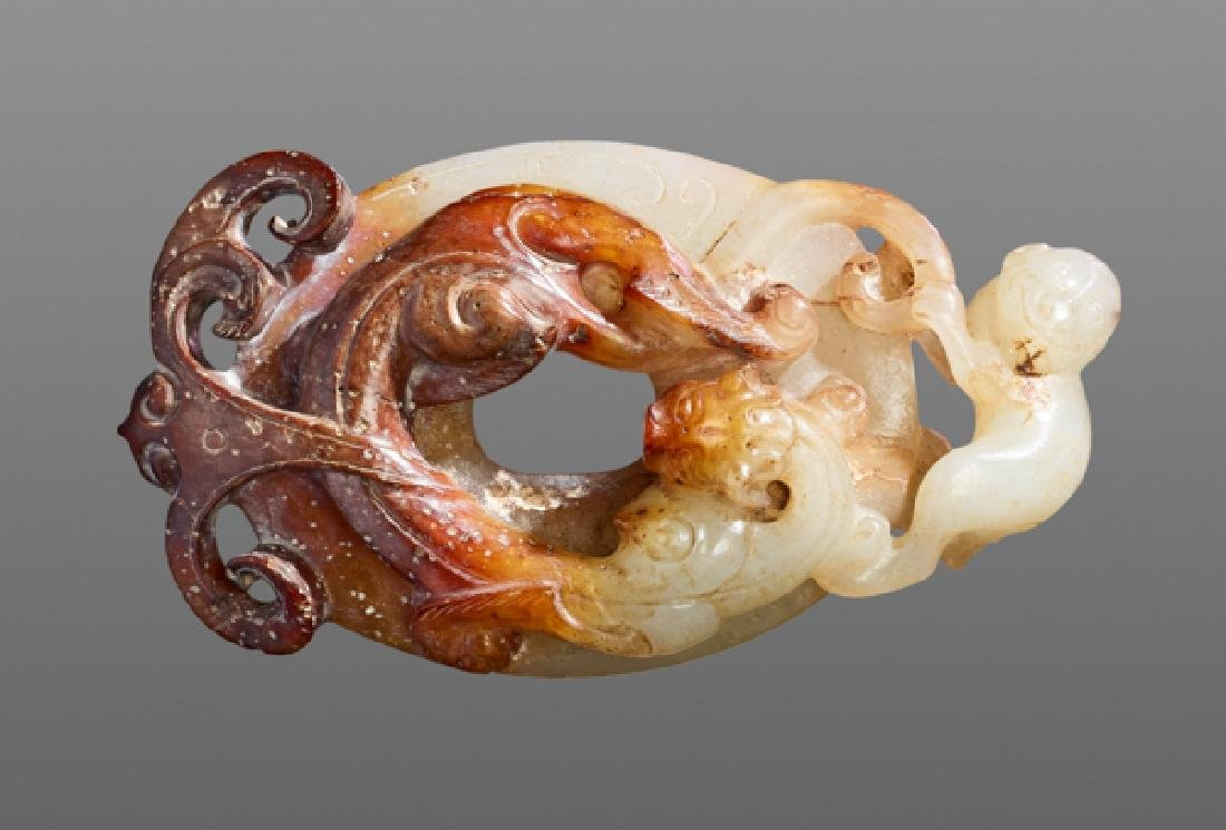 A PENDANT DECORATED WITH A DRAGON, MONKEY AND PHOENIX - 3