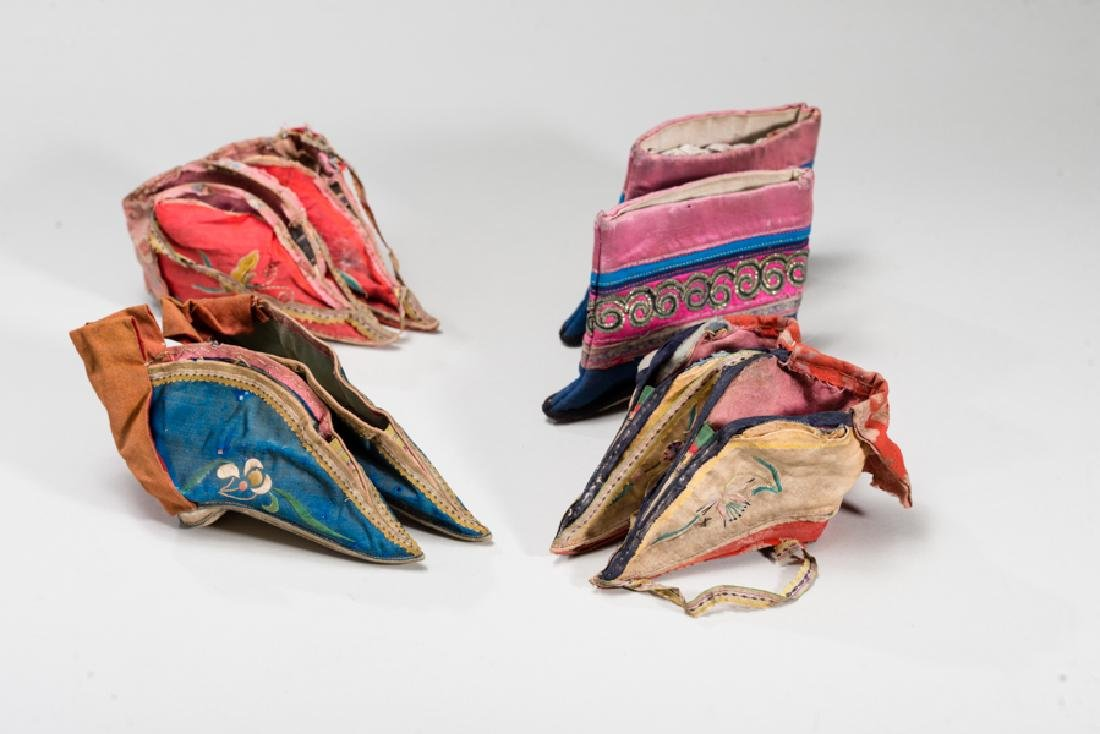 FOUR PAIRS OF CHINESE LADY'S SHOES