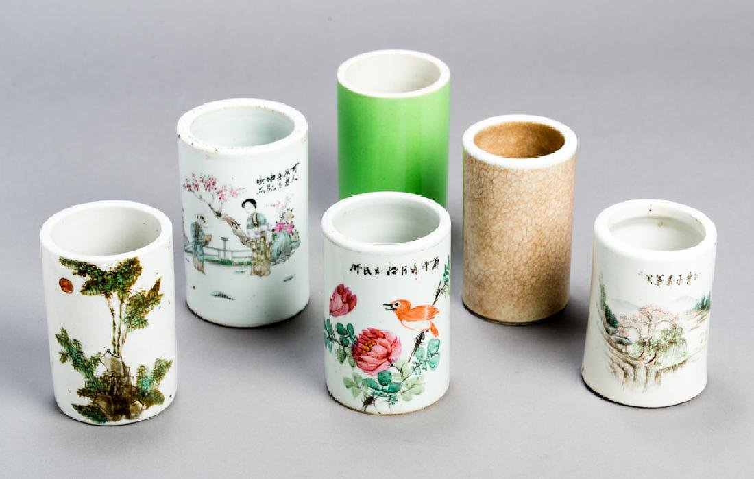 SIX CHINESE PORCELAIN BRUSH CUPS