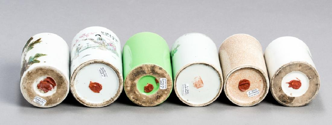 SIX CHINESE PORCELAIN BRUSH CUPS - 3