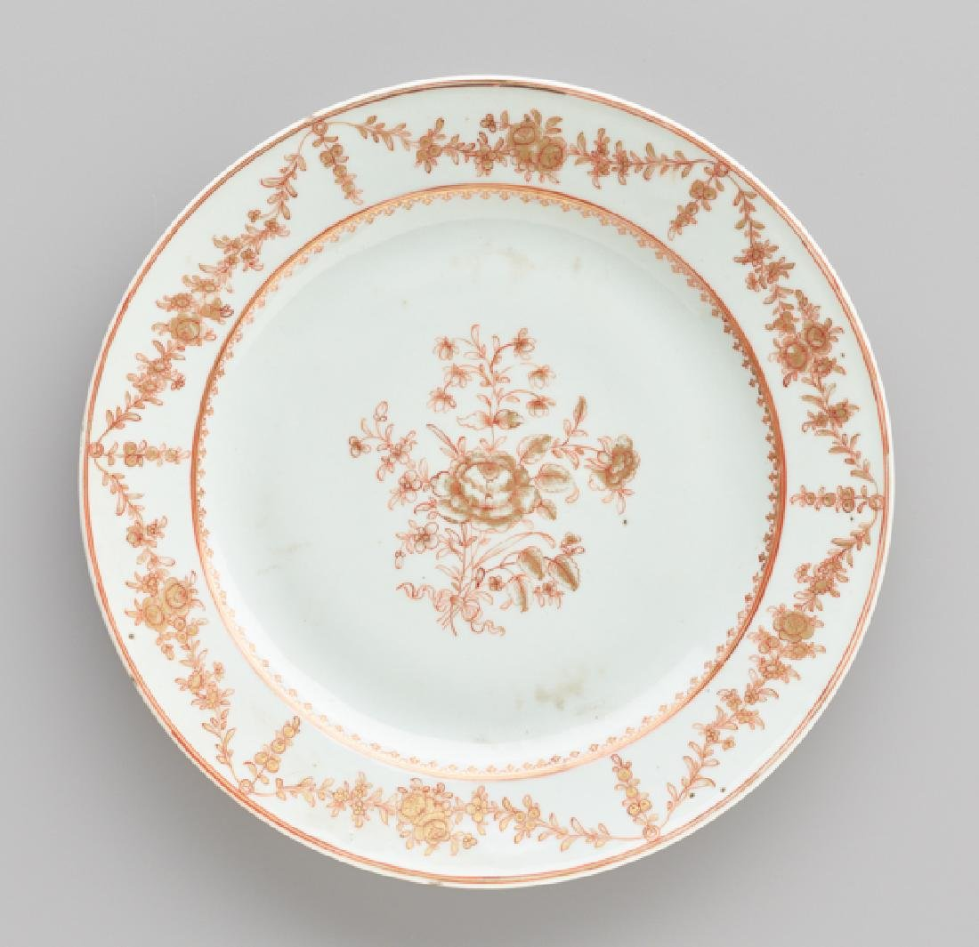 A 'PEONY' EXPORT PORCELAIN PLATE