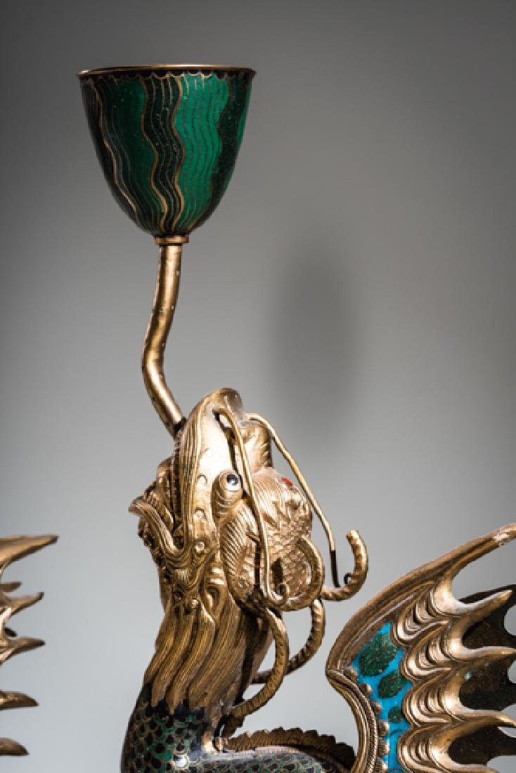 A PAIR OF CLOISONNE CANDLESTICKS IN THE FORM OF DRAGON - 2