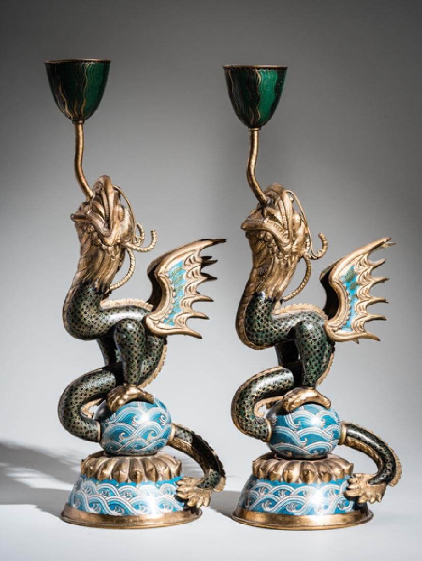 A PAIR OF CLOISONNE CANDLESTICKS IN THE FORM OF DRAGON - 3