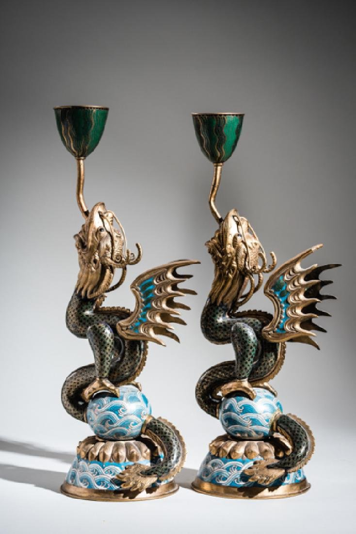 A PAIR OF CLOISONNE CANDLESTICKS IN THE FORM OF DRAGON - 4