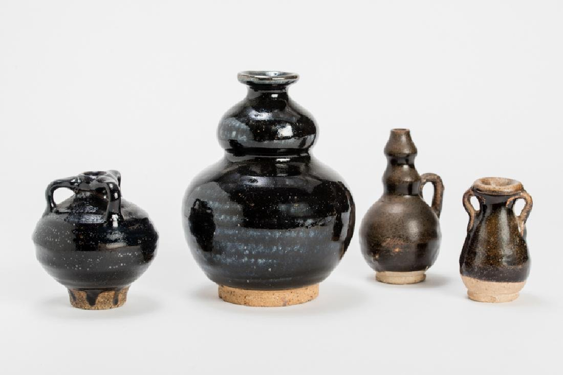 VASE AND THREE SMALL VESSELS