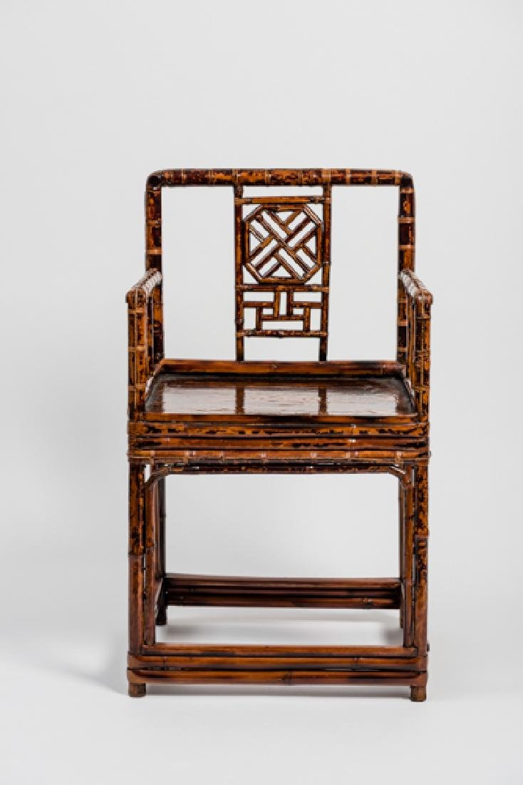 A CHINESE LACQUERED BAMBOO AMCHAIR