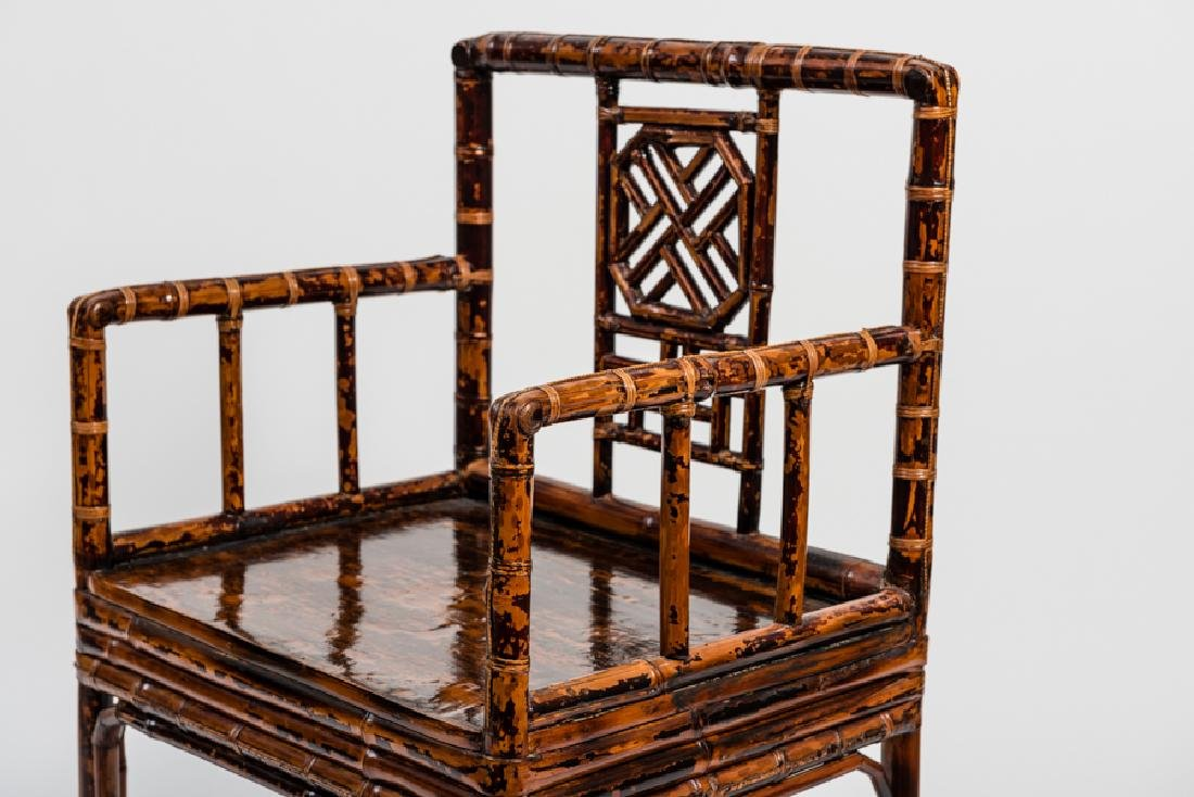 A CHINESE LACQUERED BAMBOO AMCHAIR - 2