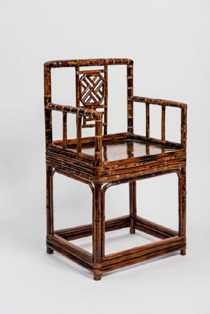 A CHINESE LACQUERED BAMBOO AMCHAIR - 3