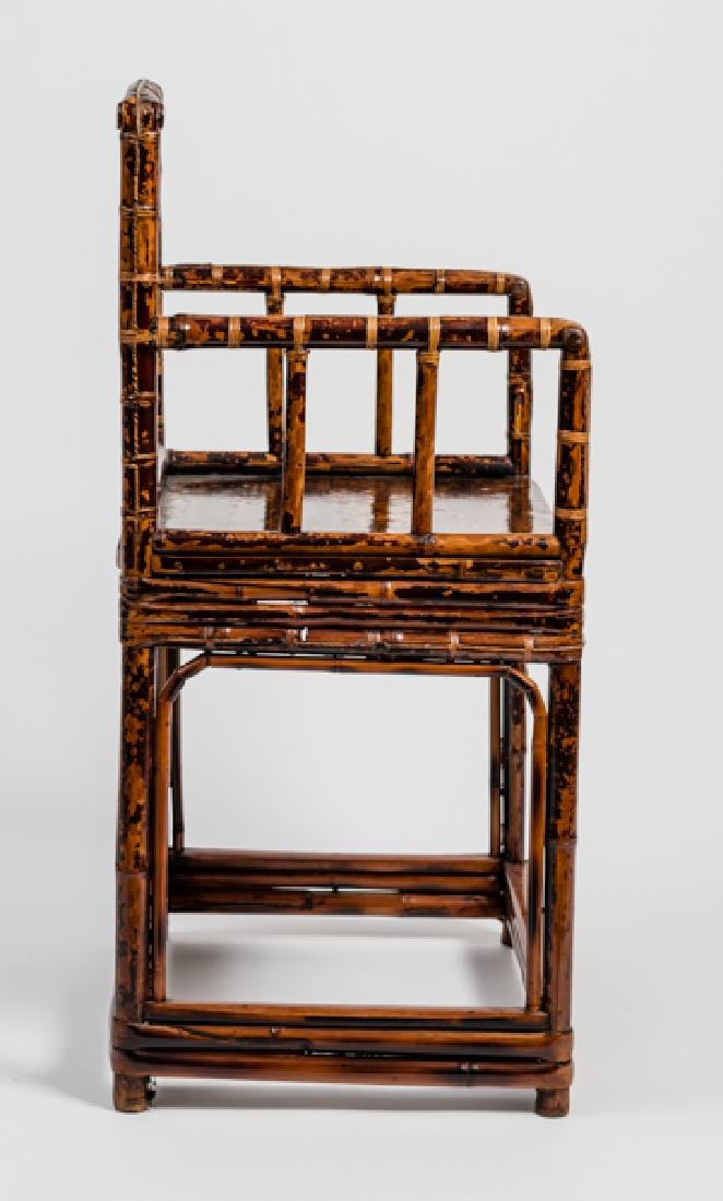 A CHINESE LACQUERED BAMBOO AMCHAIR - 4