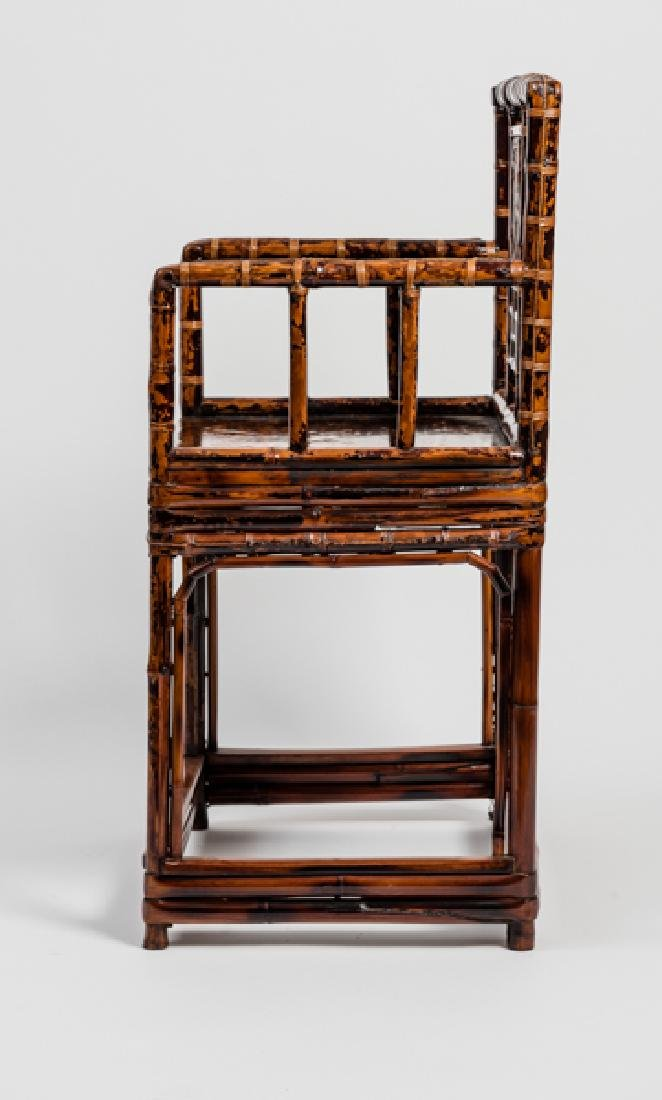 A CHINESE LACQUERED BAMBOO AMCHAIR - 5
