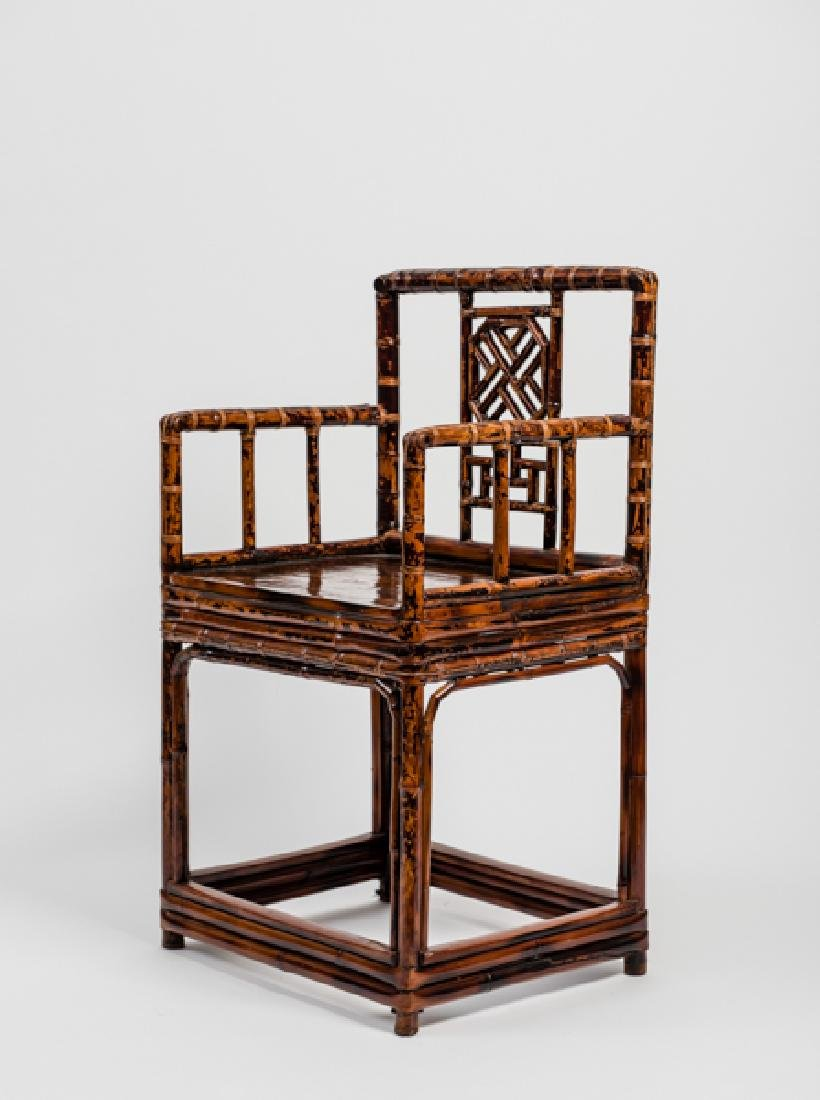 A CHINESE LACQUERED BAMBOO AMCHAIR - 6