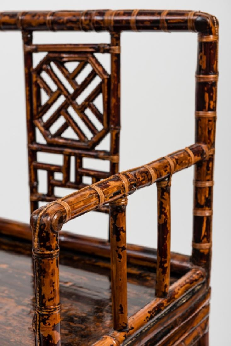 A CHINESE LACQUERED BAMBOO AMCHAIR - 7