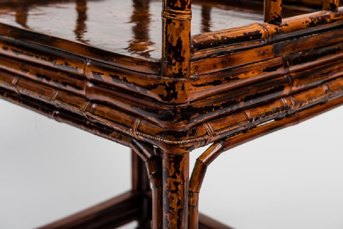 A CHINESE LACQUERED BAMBOO AMCHAIR - 8
