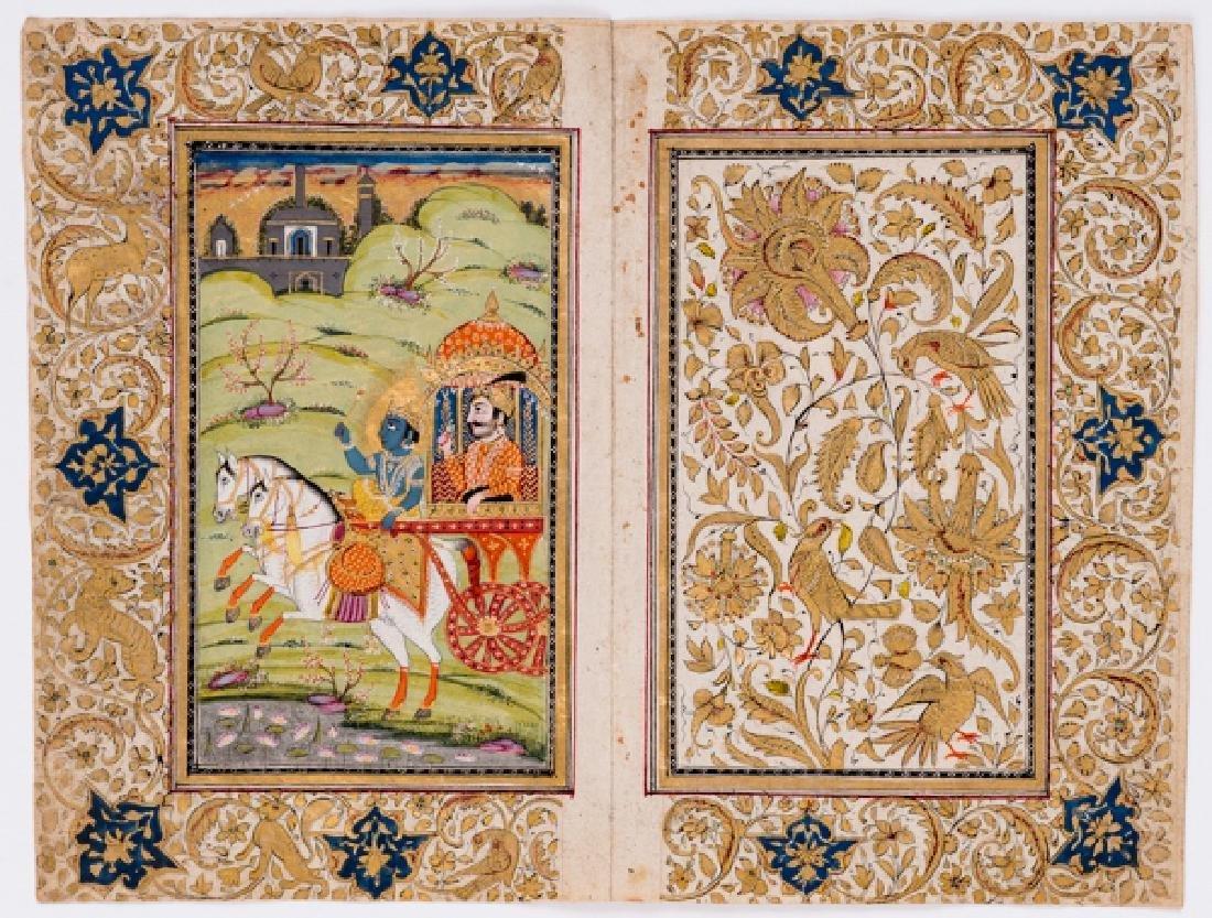 AN INDIAN MINIATURE PAINTING OF KRISHNA AND RAMA