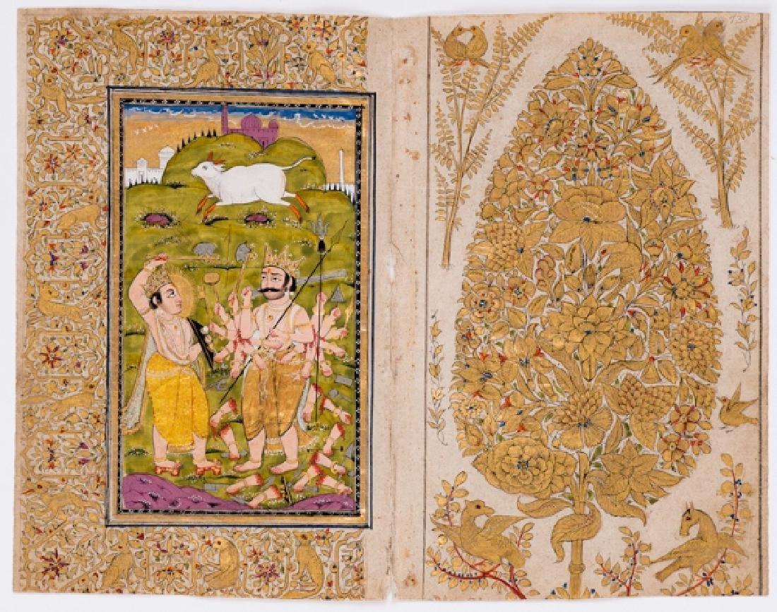 AN INDIAN MINIATURE PAINTING OF RAMA AND RAVANA