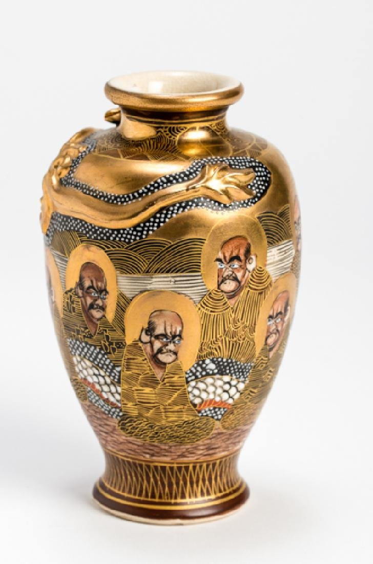 A SATSUMA VASE WITH LUOHANS AND DRAGON - 3