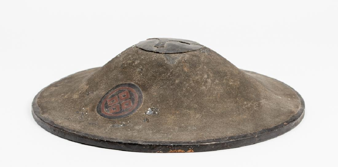 A LACQUERED JINGASA (WAR HAT)