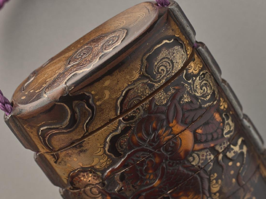 A THREE CASE LACQUER INRO OF A CELESTIAL DRAGON - 5