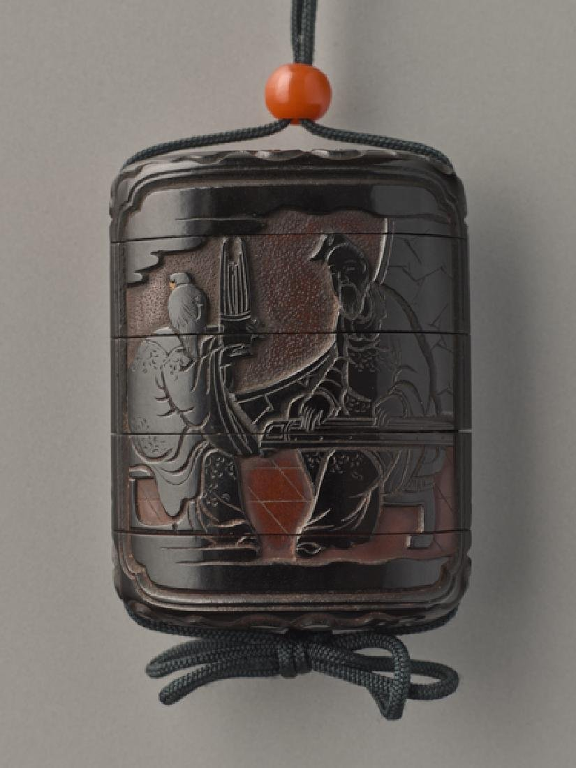 A FOUR CASE LACQUER INRO OF SAGES PLAYING MUSIC - 3