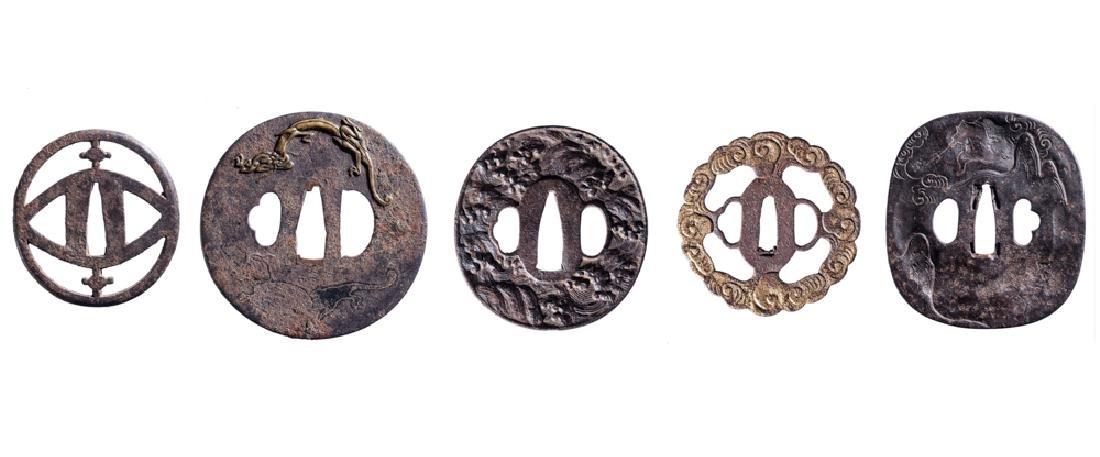 A GROUP OF FIVE IRON TSUBA