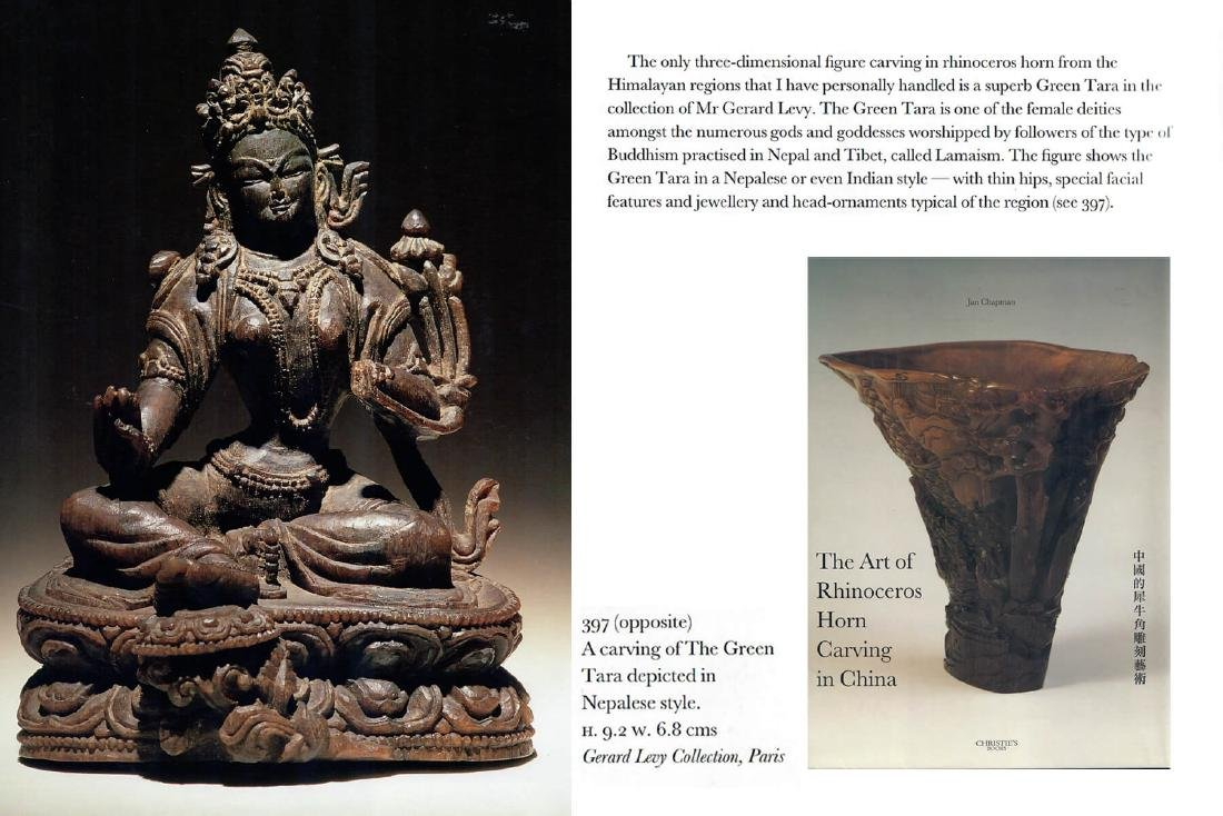 A RARE CARVING OF A GREEN TARA, 17TH CENTURY - 7