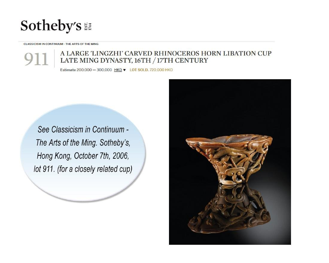 A 'LINGZHI & CHILONG' LIBATION CUP, 16TH - 17TH - 10