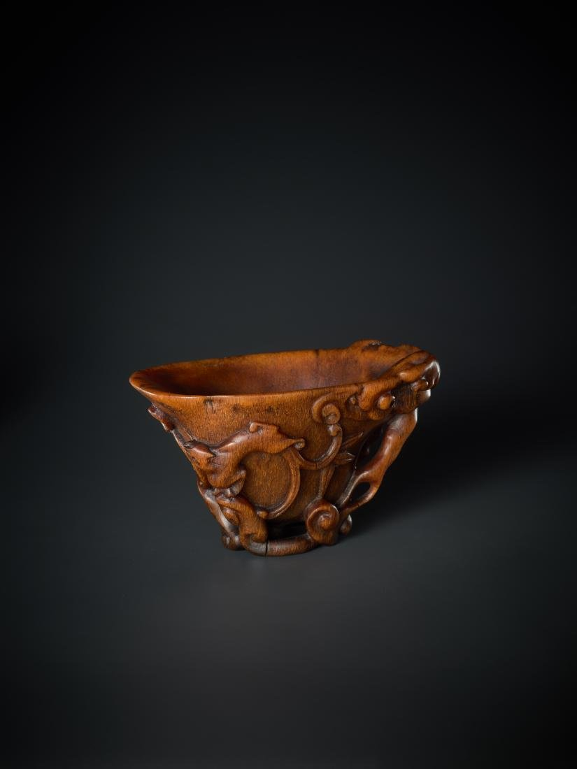A 'LINGZHI & CHILONG' LIBATION CUP, 16TH - 17TH - 3