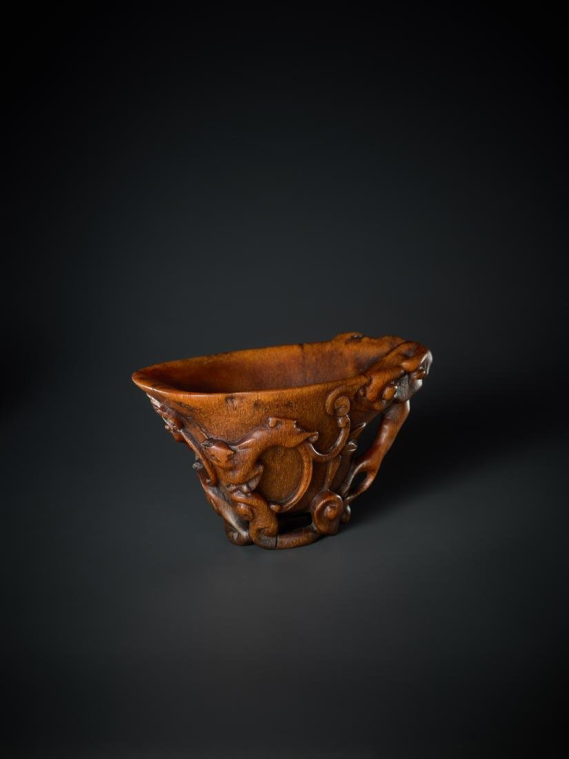 A 'LINGZHI & CHILONG' LIBATION CUP, 16TH - 17TH - 4