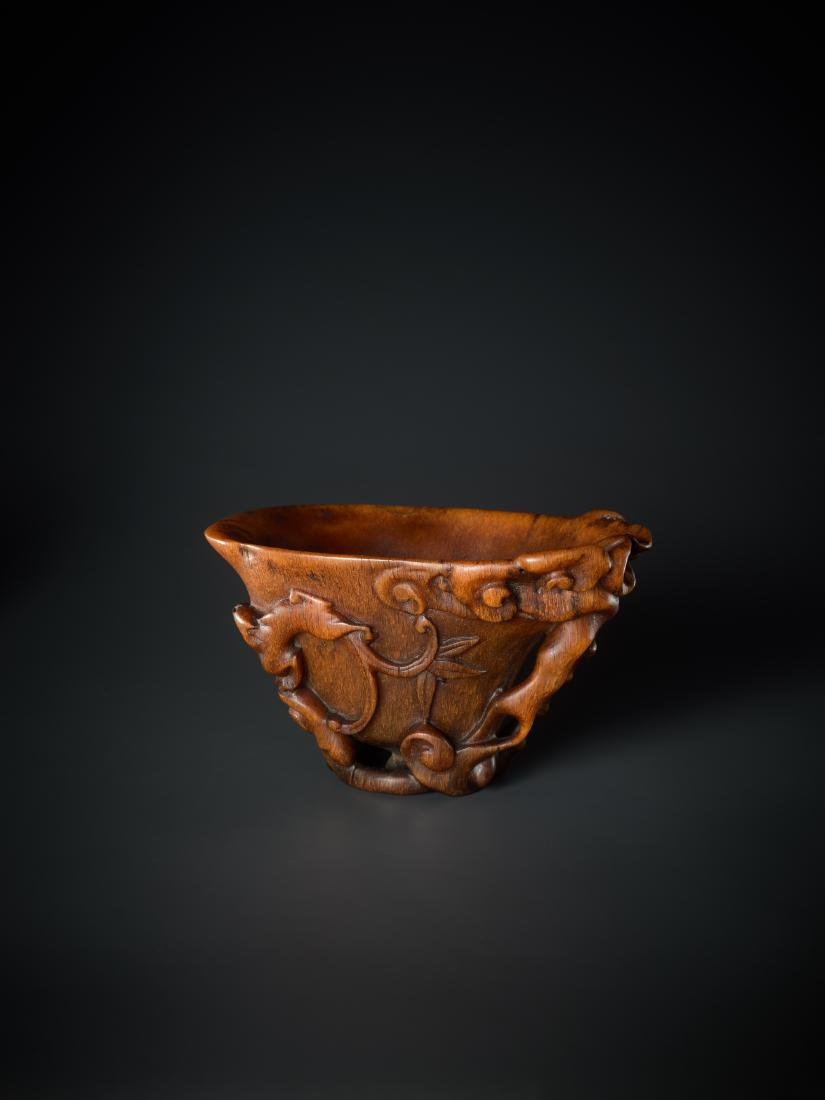 A 'LINGZHI & CHILONG' LIBATION CUP, 16TH - 17TH - 5