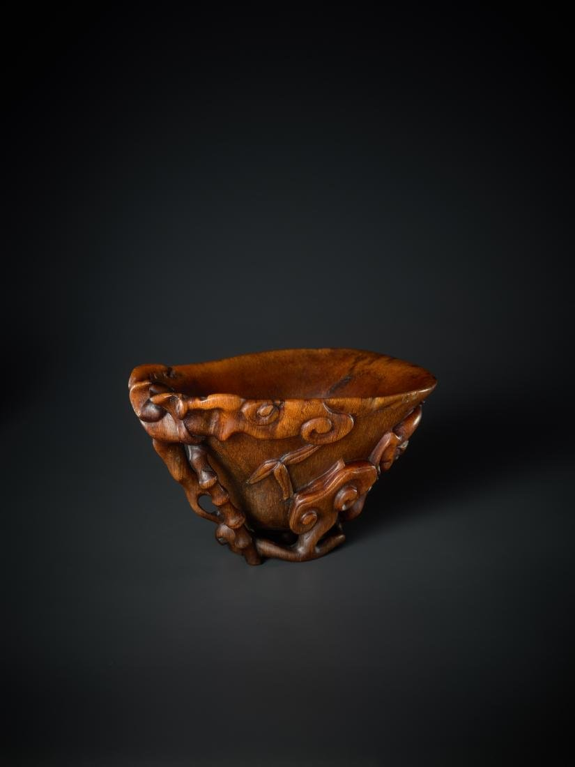 A 'LINGZHI & CHILONG' LIBATION CUP, 16TH - 17TH - 6
