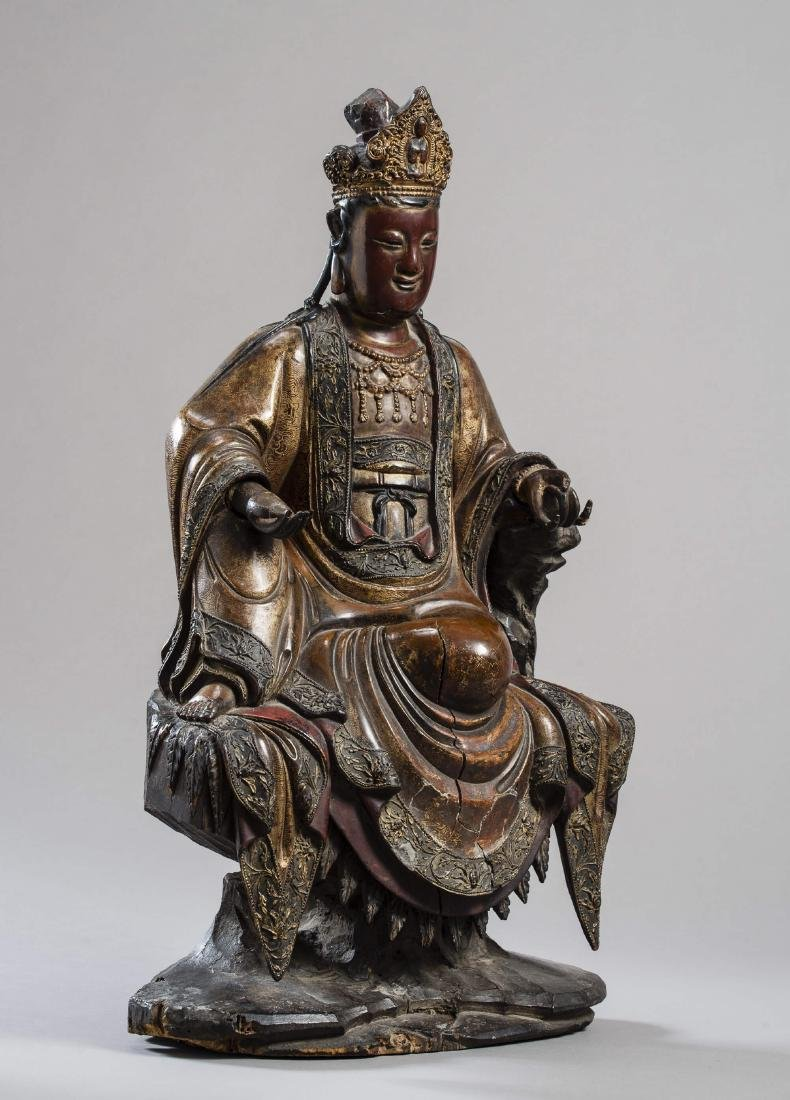 A LARGE AND IMPORTANT STATUE OF GUANYIN, DATED 1567
