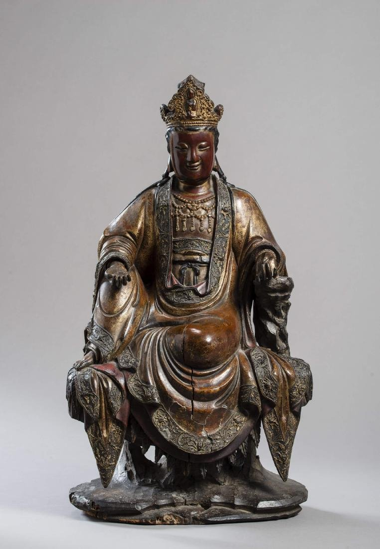 A LARGE AND IMPORTANT STATUE OF GUANYIN, DATED 1567 - 2