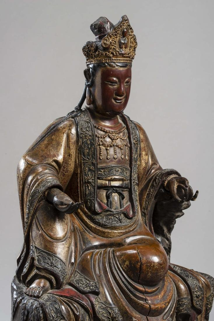 A LARGE AND IMPORTANT STATUE OF GUANYIN, DATED 1567 - 4