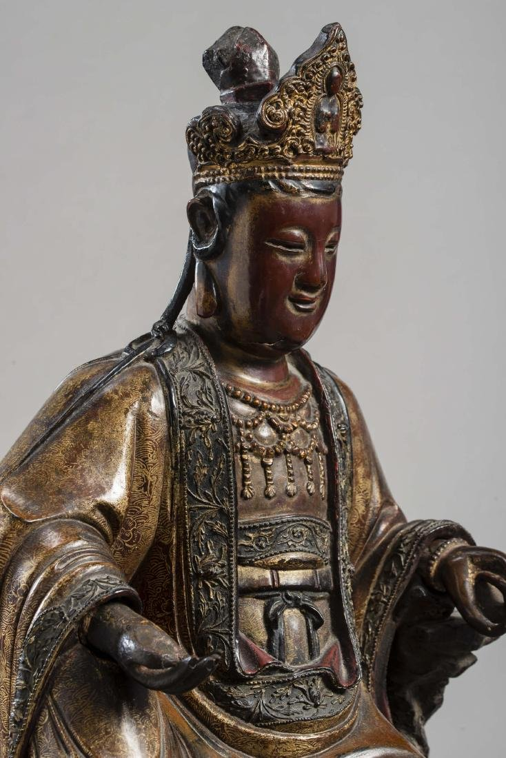 A LARGE AND IMPORTANT STATUE OF GUANYIN, DATED 1567 - 5