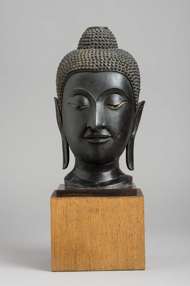 A SUKHOTHAI BRONZE HEAD OF BUDDHA, KAMPHAENG PHET, 15TH - 2