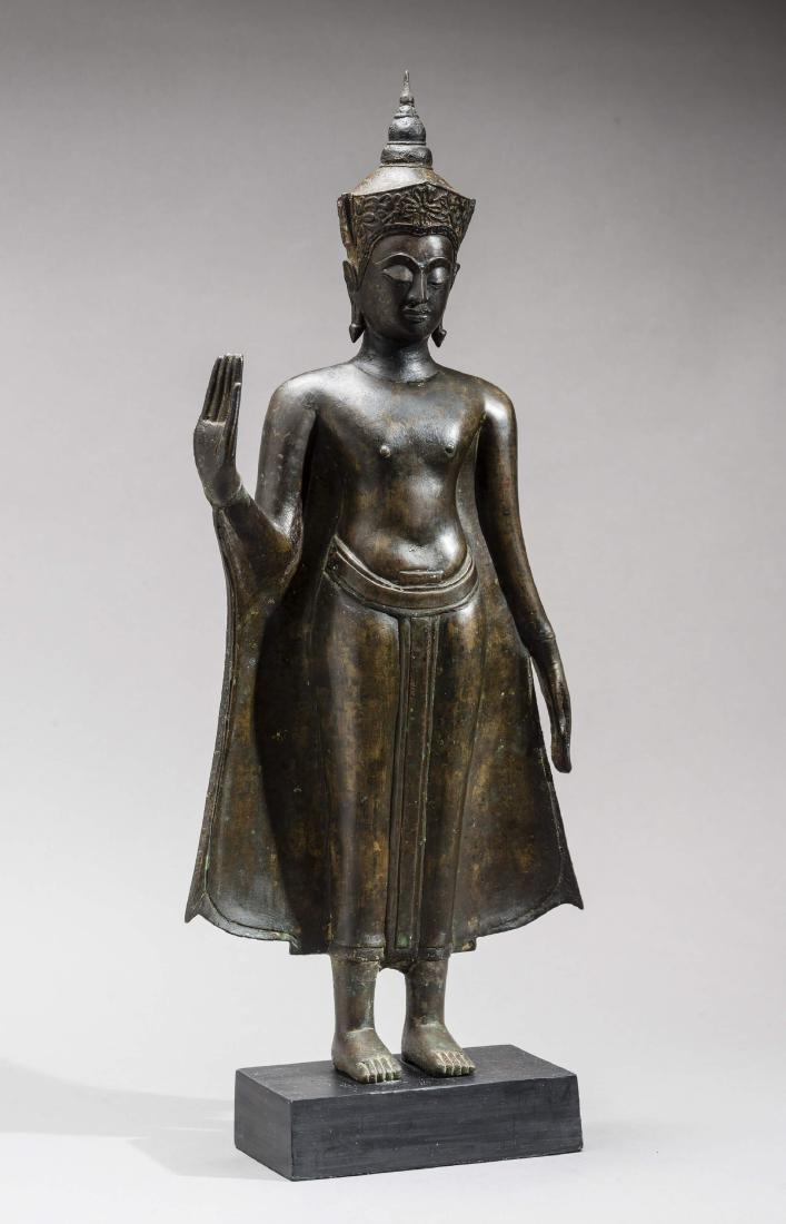 AN AYUTTHAYA BRONZE OF BUDDHA SHAKYAMUNI, 17TH
