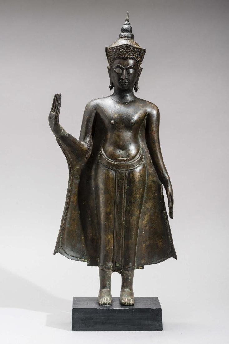 AN AYUTTHAYA BRONZE OF BUDDHA SHAKYAMUNI, 17TH - 2