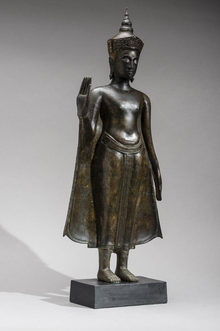 AN AYUTTHAYA BRONZE OF BUDDHA SHAKYAMUNI, 17TH - 3