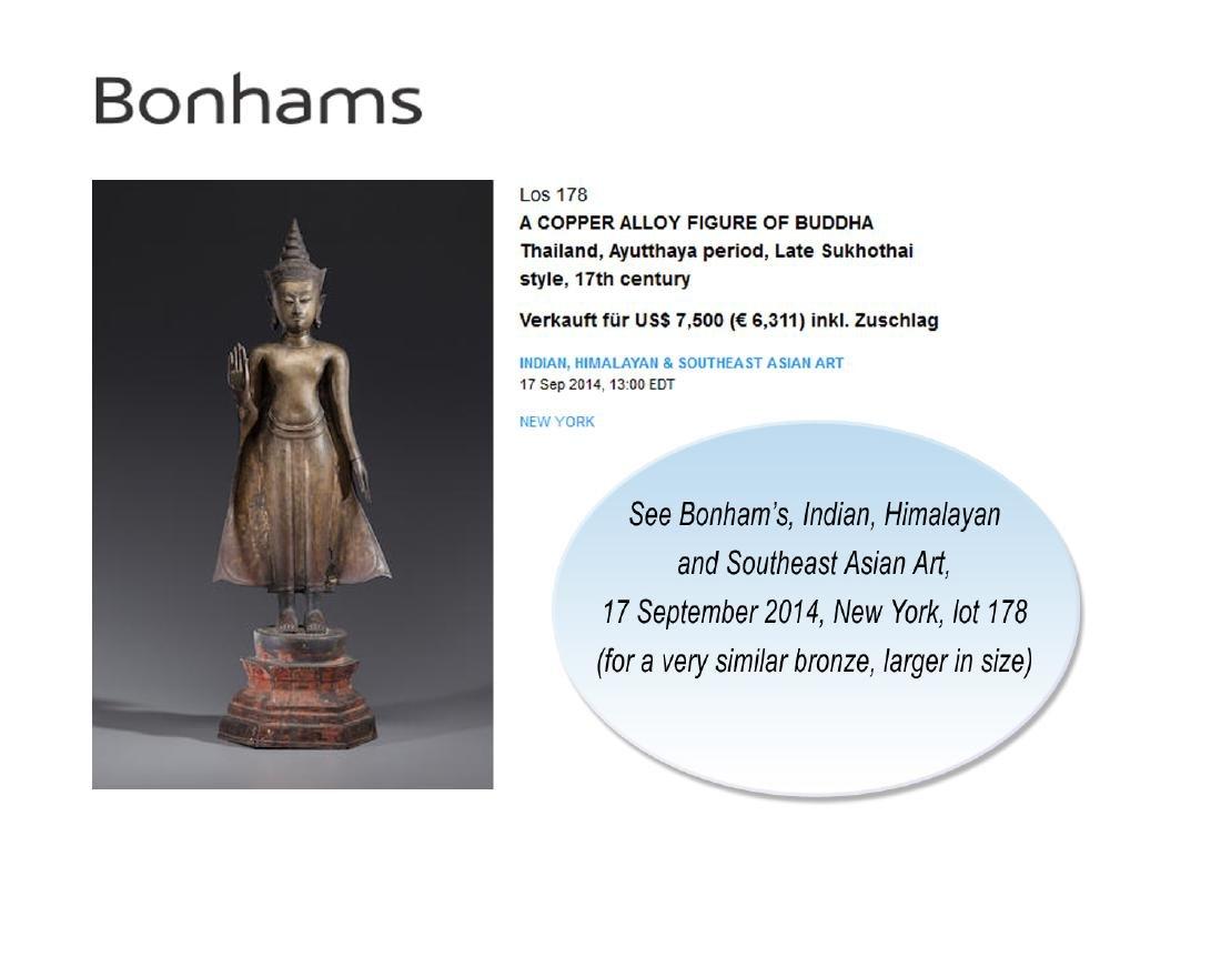 AN AYUTTHAYA BRONZE OF BUDDHA SHAKYAMUNI, 17TH - 9