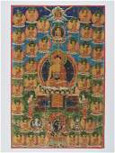 A 19TH CENTURY THANGKA DEPICTING BUDDHA AMITABHA