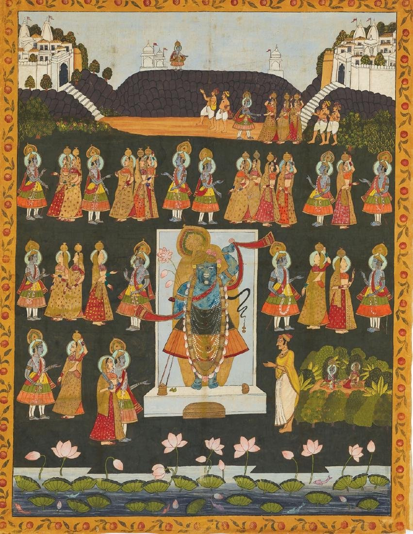 AN INDIAN PICHVAI PAINTING WITH WORSHIP OF SHRINATHJI