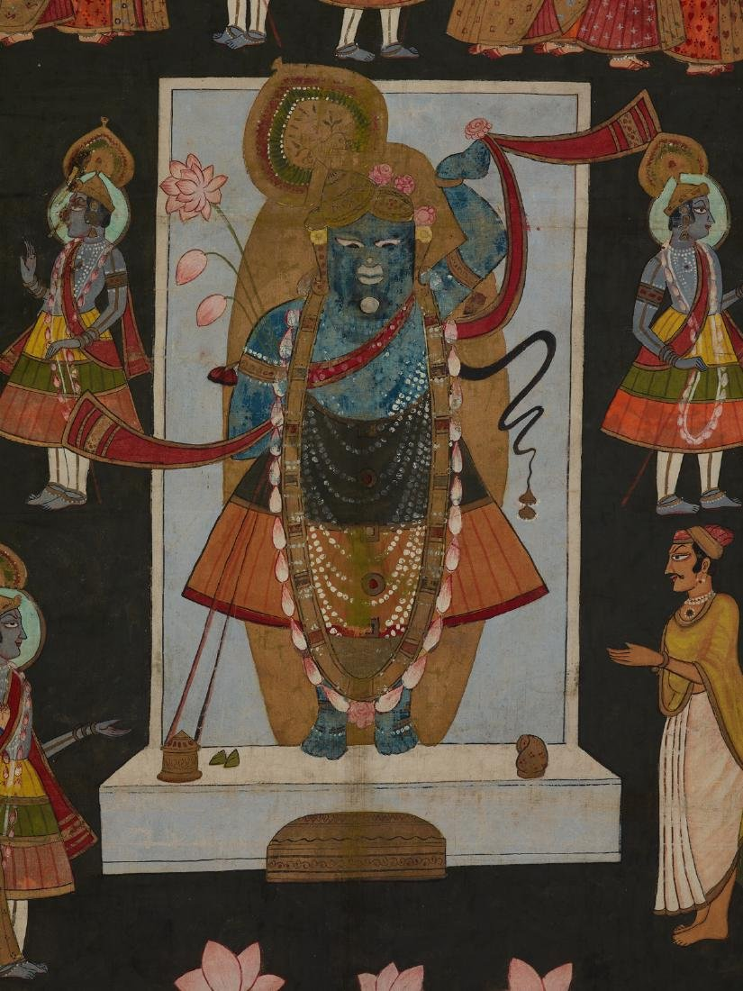 AN INDIAN PICHVAI PAINTING WITH WORSHIP OF SHRINATHJI - 2