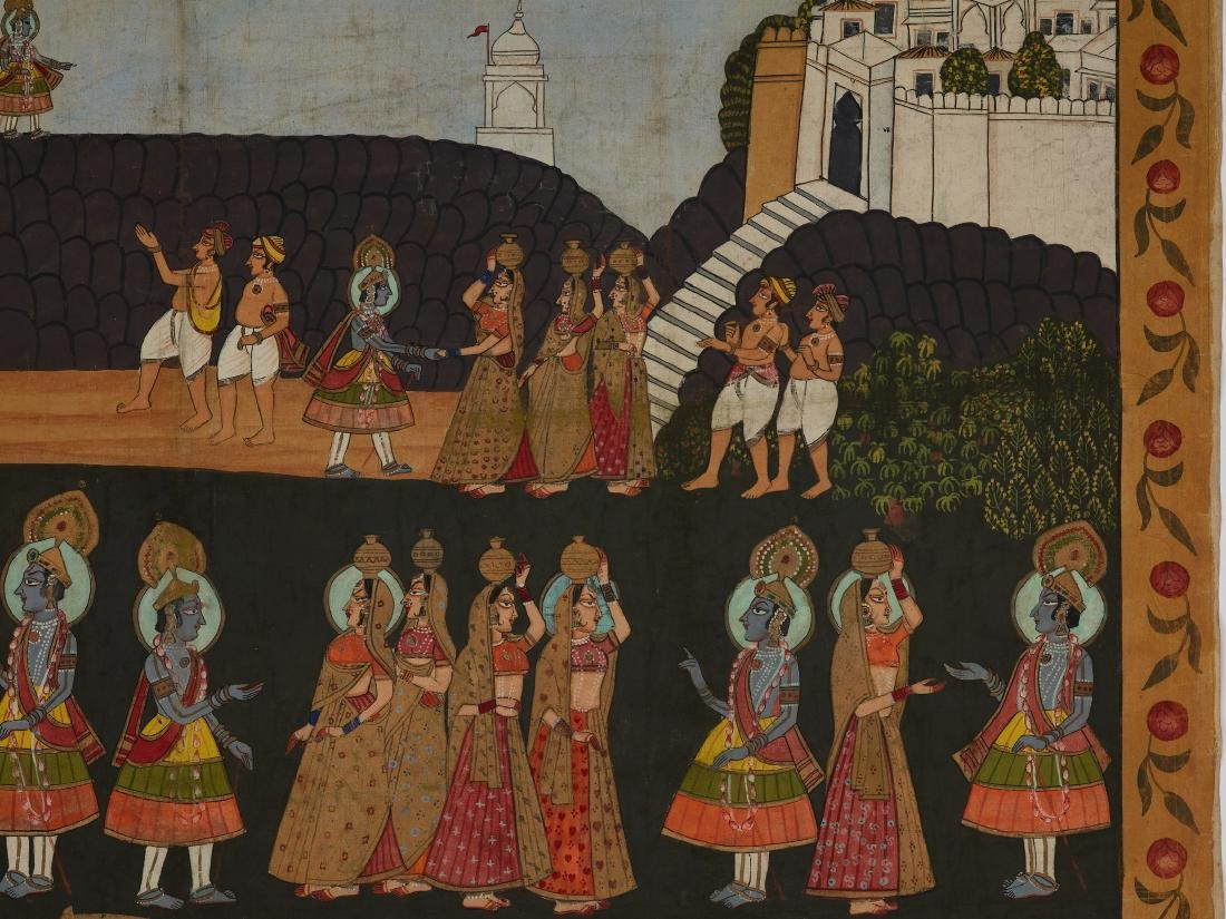 AN INDIAN PICHVAI PAINTING WITH WORSHIP OF SHRINATHJI - 3
