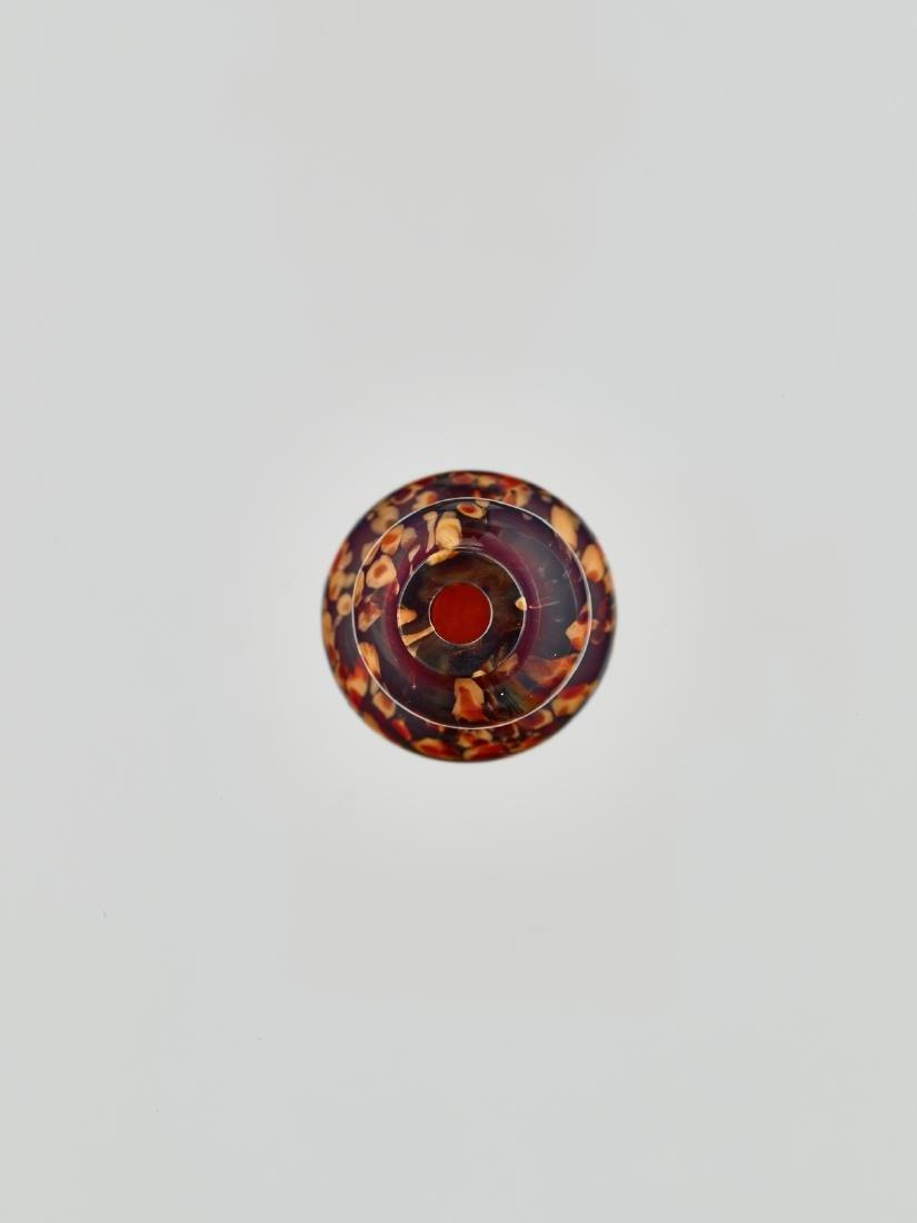 A REALGAR-SPLASHED DOUBLE-GOURD GLASS BOTTLE, 18/19c. - 2