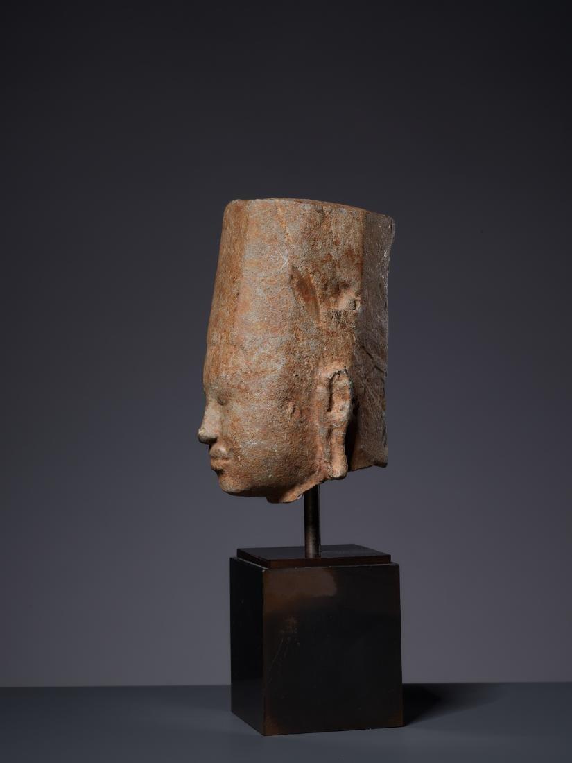 A SANDSTONE HEAD OF A DEITY, KHMER, PRE-ANGKOR PERIOD - 3
