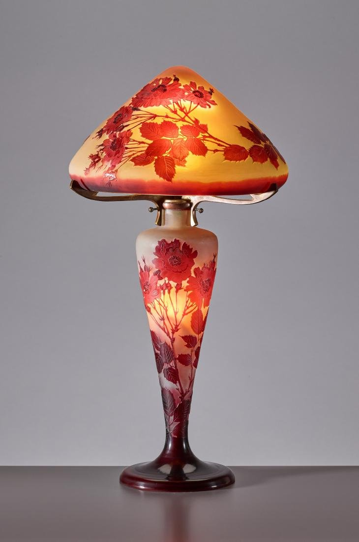 Galle Glass Table Lamp by Emile Gallé