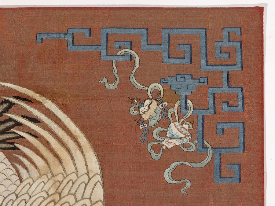 A KESI SILK WALL PANEL WITH MANCHURIAN CRANE, QING - 4